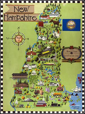 A Bird's Eye View Of New Hampshire Map Original by Timothy Campbell
