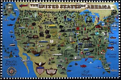 A Bird's Eye View Of The United States Of America Original by Timothy Campbell