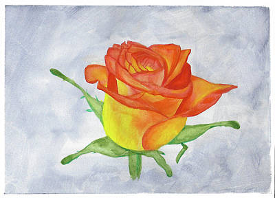 Drawing - A Birthday Rose by Steven Powers SMP