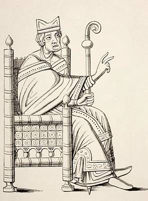 Bishop Drawing - A Bishop Or Abbot Seated In A by Vintage Design Pics