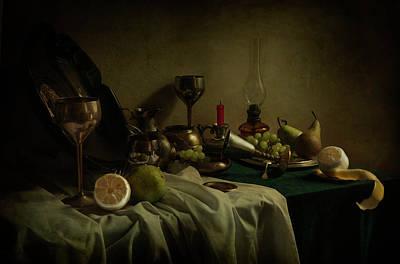 Plate Of Grapes Photograph - A Bit Messy Still Life by Jaroslaw Blaminsky
