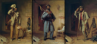 African-american Painting - A Bit Of History - The Contraband - The Recruit - The Veteran by Thomas Waterman Wood