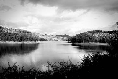 Photograph - A Black And White Landscape On The Nantahala River by Kelly Hazel