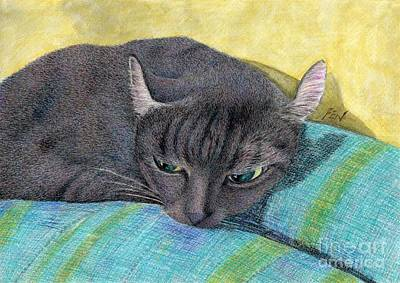Painting - A Black Cat On The Back Of Sofa by Jingfen Hwu