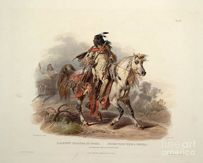 Indians Painting - A Blackfoot Indian On Horseback by Celestial Images