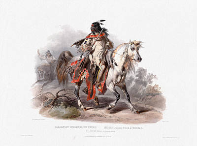 Painting - A Blackfoot Indian On Horseback - Wall Art Prints by Karl Bodmer