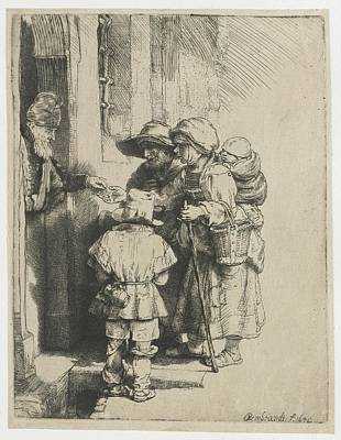 Rembrandt Harmensz Van Rijn Painting - A Blind Hurdy-gurdy Player With Family These Receives Alms by Celestial Images