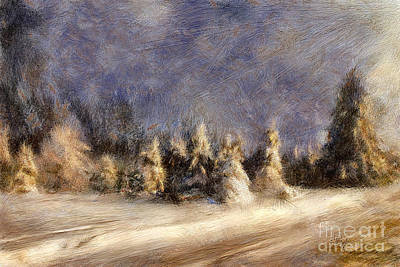 Country Road Digital Art - A Blizzard Of Light by Lois Bryan