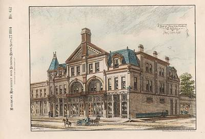 Grand Rapids Painting - A Block Of Stores To Be Erected. Grand Rapids Michigan 1884 by Sidney Osgood