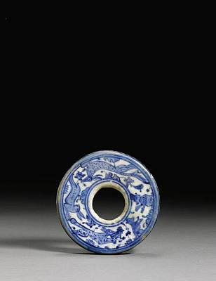 Iznik Painting - A Blue And White Iznik Pottery Disc by Eastern Accent