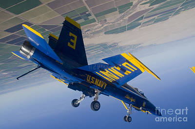 Loop Painting - A Blue Angels Pilot Blue Angels Performs A Diamond Dirty Loop. by Celestial Images