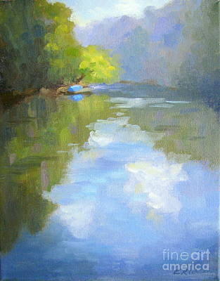 Atlanta Painting - a Blue Boat by the River by Keiko Richter