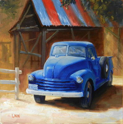 Painting - A Blue Chevrolet by Ningning Li