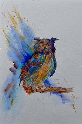 Wings Of A Bird Painting - A Blue Mood Owl by Beverley Harper Tinsley