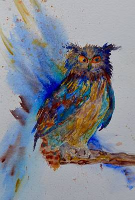Wings Of A Bird Painting - A Blue Mood Owl Cropped by Beverley Harper Tinsley