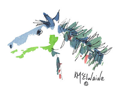 A Blue Roan Horse Watercolor Painting By Kmcelwaine Art Print