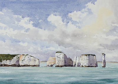 Ballard Painting - A Blustery Day - Old Harry Rocks by Oliver Pyle
