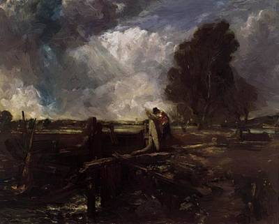 Painting - A Boat At The Sluice by Constable John