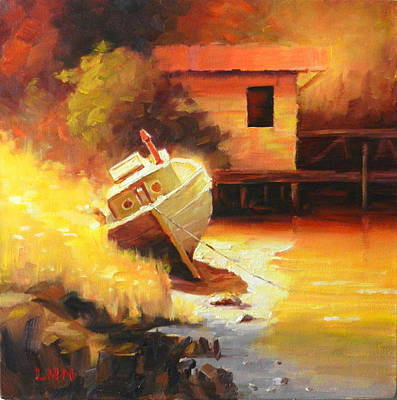 Painting - A Boat In A Sunny Day by Ningning Li
