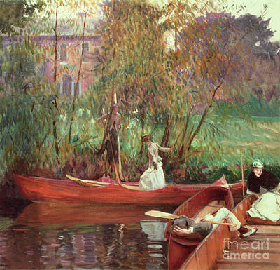 Reflecting Water Painting - A Boating Party  by John Singer Sargent