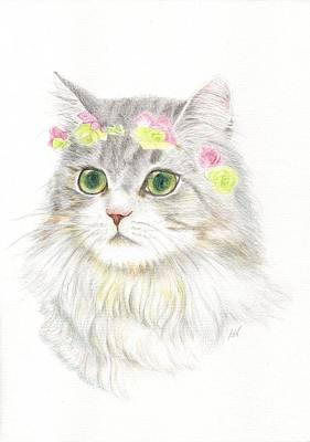 Painting - A Bohemian Princess With Flower Hair Garland by Jingfen Hwu
