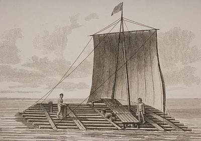Oceania Drawing - A Bolsa Wood Raft From South America by Vintage Design Pics