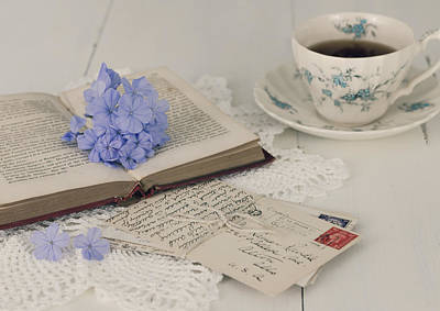 Photograph - A Book - Postcards And Cup Of Tea by Kim Hojnacki