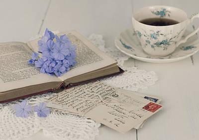 Photograph - A Book - Postcards And Cup Of Tea by Kim Hojnacki