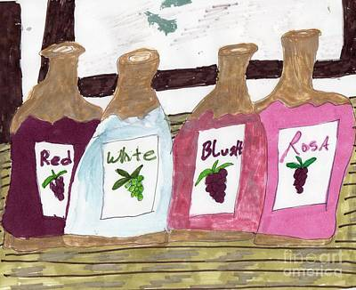 A Bottle Of Red Art Print by Elinor Rakowski