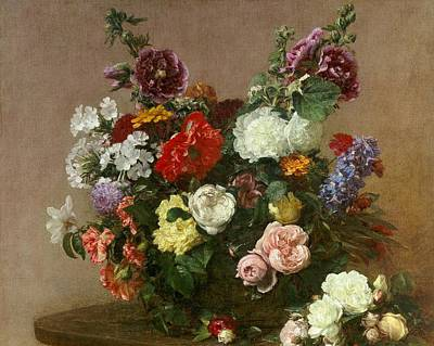 A Bouquet Of Mixed Flowers Print by Ignace Henri Jean Fantin-Latour