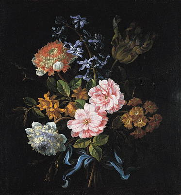 Antique Roses Vase Wall Art - Painting - A Bouquet Of Poppy Anemones, York-and-lancaster Roses, Double Camparnelle, A Hyacinth, A Tulip And Auricula Tied With A Blue Ribbon by Jean-Baptiste Monnoyer
