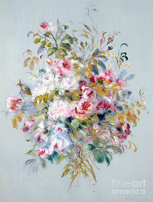 Of Flowers Painting - A Bouquet Of Roses by Pierre Auguste Renoir