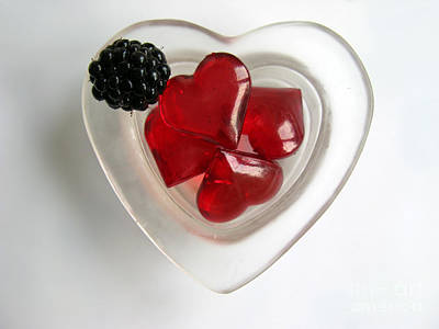 Print featuring the photograph A Bowl Of Hearts And A Blackberry by Ausra Huntington nee Paulauskaite