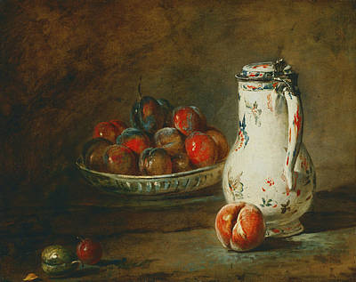 Simeon Painting - A Bowl Of Plums by Jean-Baptiste-Simeon Chardin