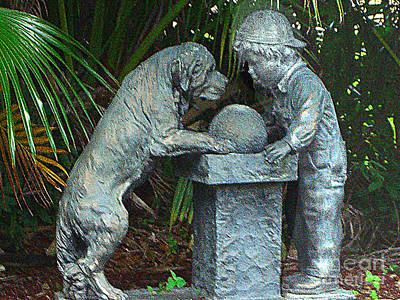 Photograph - A Boy And His Dog - Statue by Merton Allen