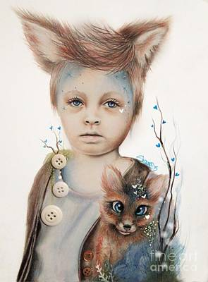 Drawing - A Boy And His Fox   by Sheena Pike