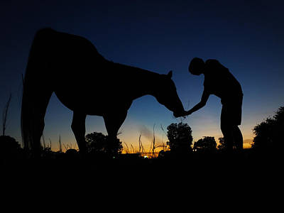 A Summer Evening Landscape Photograph - A Boy And His Horse by Jake Marvin