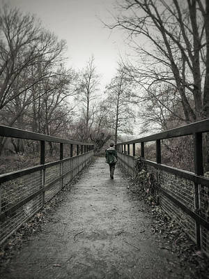 A Boy On A Bridge  Art Print
