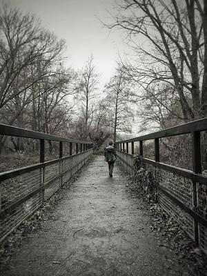 A Boy On A Bridge  Art Print by Tom Gowanlock