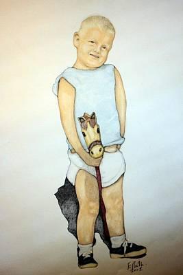 A Boy On A Stickhorse Art Print by Edward Ruth