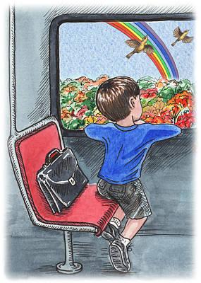 A Boy On The Bus Print by Irina Sztukowski