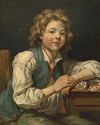 Painting - A Boy, Seated Three-quarter Length, Beside A Table With Cards by Jean-Baptiste Charpentier