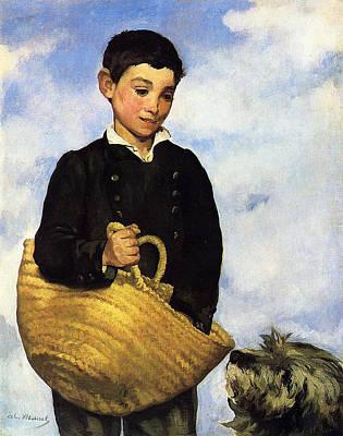 A Boy With A Dog Art Print