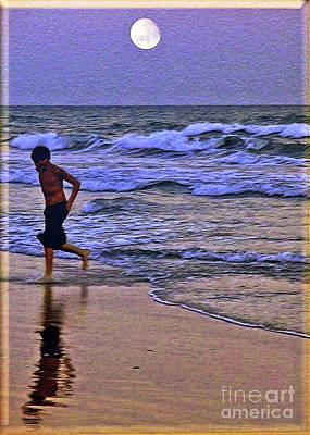 A Boy's Beach Run Art Print