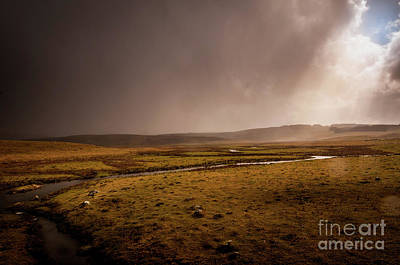 Rainy Photograph - A Break In The Clouds. Lozere,france. by Robert Brown