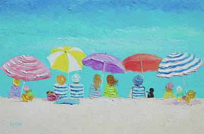 Impressionist Beach Painting - A Breezy Summers Day by Jan Matson