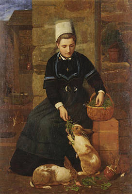 Painting - A Breton Girl With Rabbits by James Collinson