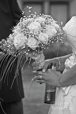 Photograph - A Bride A Bouquet And A Beer by Terri Waters