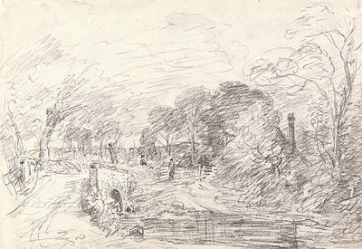 Drawing - A Bridge Near Salisbury Court Perhaps Milford Bridge by John Constable