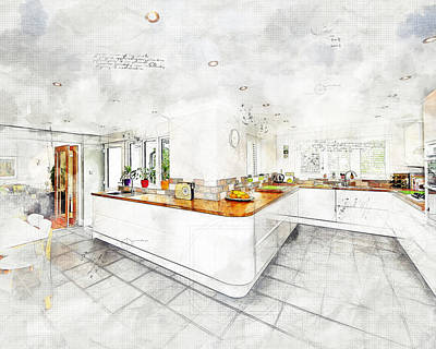 Photograph - A Bright White Kitchen by Anthony Murphy